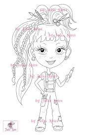 Small Picture Digital stamps Girl stamps Digi Craft Big Eyes Cute Coloring