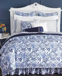 bed made with ralph lauren bedding in porcelain blue i think the sheets are the