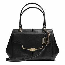 COACH f25246 MADISON TEXTURED LEATHER LARGE MADELINE EAST WEST SATCHEL  LIGHT GOLD BLACK
