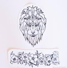эскиз лев и цветы купить в интернет магазине на ярмарке мастеров с