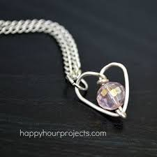 diy handmade valentine s gift wire wrapped heart necklace tutorial at happyhourprojects com