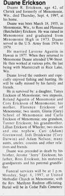Obituary for Duane R. Erickson, 1955-1997 (Aged 42) - Newspapers.com