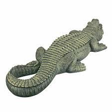 Lighted Alligator Lawn Ornament Crocodile Statue Outdoor Garden Patio Alligator Sculpture Home Pond Swamp Decor