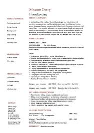 Housekeeping resume