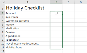 creating a checklist checklist in excel easy excel tutorial