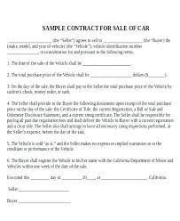 Car Sale Agreement Sample Motor Vehicle Purchase Contract Buying A ...