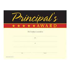 Principal Award Certificate Gold Foil Stamped Principals Award Certificates