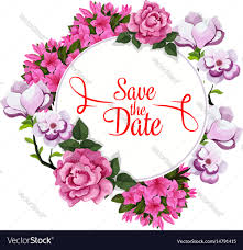 Save Date Wedding Greeting Floral Template