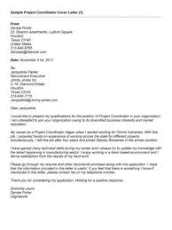 Gallery Of Sample Cover Letter For Project Coordinator Best