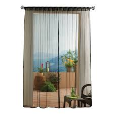 Solaris Mesh 108-in Black Polyester Back Tab Sheer Single Curtain Panel