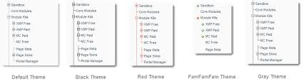 themes for the site map tree menu for xmod pro