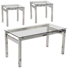 description chrome coffee table and end lamp table with tempered clear glass tops this set has chrome legs and will suit any modern or contemporary