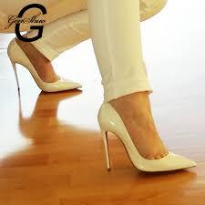 <b>GENSHUO White High Heel</b> Stiletto Women Shoes Zapato de Mujer ...