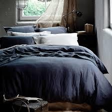 washed linen duvet cover grey