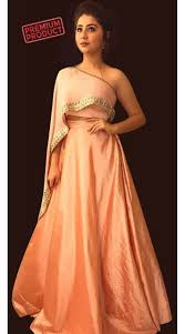 Designer Crop Top And Skirt Aditi Bhatia Salmon Plain Skirt With Designer Crop Top Bp1746