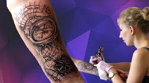 тату компас на руке роза ветров Tattoo Compass