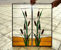 stained cabinet glass inserts for customer