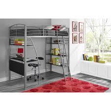 dorel dhp studio twin metal loft bed with desk and shelves silver com