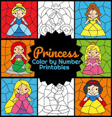 Printable pictures of a princess, little mermaid, snow white, sofia and unicorns. Princess Color By Number Printables