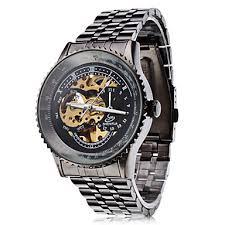 black dress watches black analog mechanical mens watch