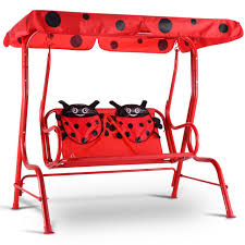 outdoor furniture swing chair. Kids Patio Swing Chair Children Porch Bench Canopy 2 Person Yard Furniture Red Outdoor R