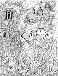 Fish Ocean Castle Seahorse Starfish Water Coloring Pages Colouring