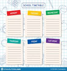 Graphic Design Timetable School Timetable Template A Weekly Curriculum Design Stock