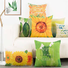 Decorative Throw Pillow Cushion Cover Green Plant Yellow ...