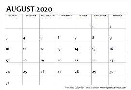 2020 August Calendar Template August Month Template