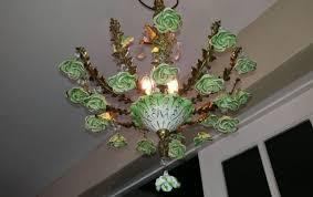vintage chandelier green porcelain roses crystals 3 light fixture brass spain