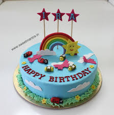 Rainbow Theme Eggless Designer Small Fondant 3d Birthday Cake Cake
