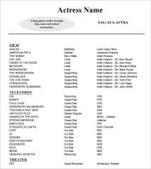 Actress Sample Resumes Unique Actress Resume Template Colbroco