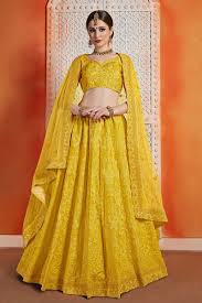 Lehenga Design In Yellow Colour Mustered Yellow Color Thread Embroidery Work Designer Lehenga Choli
