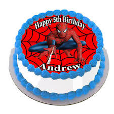 Spider Man Real Edible Icing Round Cake Topper Party Image Frosting