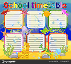 Graphic Design Timetable Design School Timetable Kids Bright Underwater Background