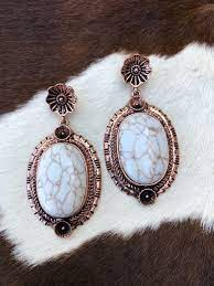 """Becky """" Western Stone & Flower Post Earrings ( White / Copper ) – Ale  Accessories"""