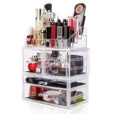 amazon dreamgenius makeup organizer 3 pieces acrylic cosmetic storage drawers and jewelry display box home kitchen