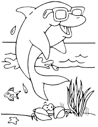Small Picture dolphin with glasses Animal Coloring pages for kids to print color
