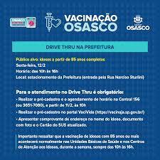Idosos a partir de 85 anos podem se vacinar contra a covid-19 a partir  desta sexta em drive thru em Osasco