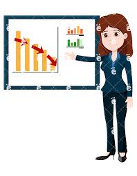 Trending Graph A Businesswoman Pointing To A Downwards Trending Graph