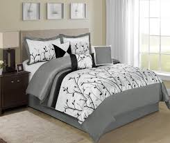 7 piece willow tree branches black white design bed in a bag comforter sets queen size