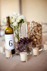Corks and grapes for table decorations.