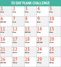 21 Day Plank Challenge Chart September 30 Day Plank Challenge Bella On The Beach