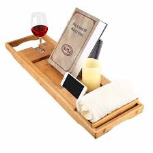 bamboo bathtub caddy tray with extending sides mug wineglass smartphone holder metal frame book pad tablet holder with waterproof cloth detachable sliding