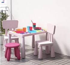 ikea mammut children s table and 2 x chairs light pink in