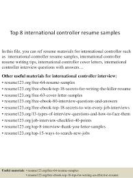 Top 8 International Controller Resume Samples