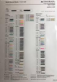 Toho Beads Color Chart Toho Sample Cards Bobbybead