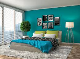 blue bedrooms. Delighful Bedrooms Add Interest To Your Bedroom With An Unexpected Accent Color Complement  Chosen Shade Of Blue The Leafy Green Bed Pillows Give This Striking Blue  And Blue Bedrooms O