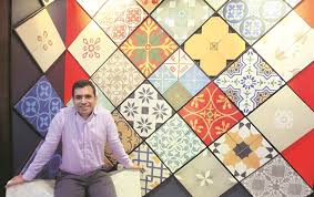 firdaus at his officeshowroom 2 patterns of handmade tiles