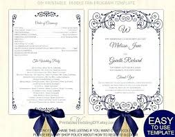 Free Microsoft Word Wedding Program Template Program Templates Word Navy Blue Vintage Scroll Fan Program